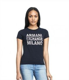 Camiseta Armani Exchange Women's Floral Stacked Logo Tee Navy E5X265 #Camiseta #Armani Exchange