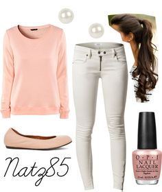 Light pink and white cute and simple outfit!!!