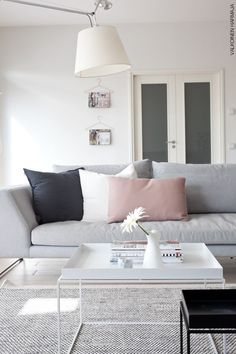 "soft shades of pale grey charcoal and blush pink - Hay ""Tray Table"" in white and black:"