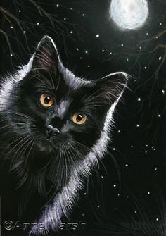 BLACK CAT SPOOKY NIGHT PRINT OF PAINTING ANNE MARSH ART