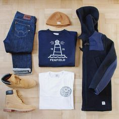 Outfitgrid - Nudie beanie / Penfield crewneck / Edwin tee & jeans / Wood Wood coat / Timberland shoes