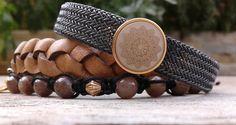 weer een nw setje gemaakt een stalen band met bruin gevlochten leer gecombineerd met jadestenen.....bekijk de site van polsgeluk op facebook  waar je ook een bestelling kan plaatsen x