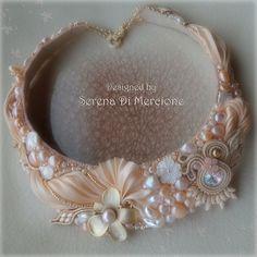 """""""Perla"""" Necklace by Serena Di Mercione - Pearl, swarovski, shibori silk"""