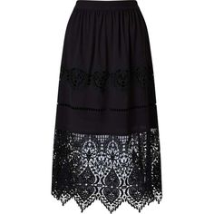 Miss Selfridge Black Lace Hem Skirt ($114) ❤ liked on Polyvore featuring skirts, black, miss selfridge, lacy skirt, party skirts, lace skirt and knee length lace skirt