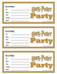 Harry Potter Printable Party Invitations