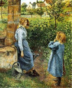 Woman and Child at the Well - Camille Pissarro 1882