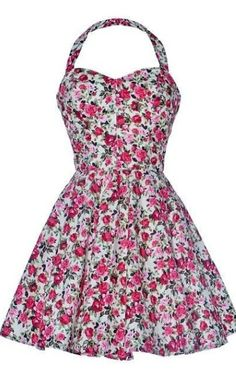 Vestido vintage con flores rosadas
