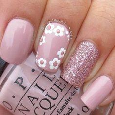 Hot Nail Designs, Easter Nail Designs, Nail Designs Spring, Beautiful Nail Designs, Floral Nail Art, Pink Nail Art, Glitter Nail Art, Pink Nails, Sparkly Nails