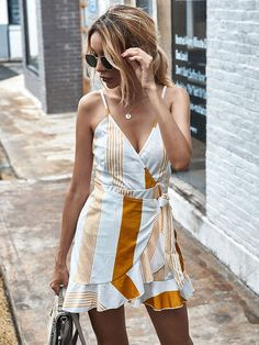 SCHEDULE YOUR BEACH PLAN  Wear these exclusive dresses Short Beach Dresses, Summer Dresses For Women, Stripes Fashion, Blue Fashion, Women's Fashion, Yellow Shorts, Yellow Dress, Short Sundress, Asymmetrical Dress