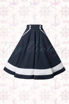 Miss Candyfloss Sailor Navy Blue Swing Skirt 122 31 14878 20150410 50s Skirt, Swing Skirt, Swing Rock, Fashion Outfits, Womens Fashion, Fashion Clothes, Fashion Ideas, White Trim, White Fabrics