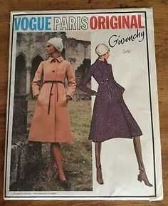 """1970s Vogue Paris Original by GIVENCHY Misses' Coat, Pattern No. 2411, Misses' Size 8:Bust 31""""Waist 23""""Hip 33-1/2""""Semi-fitted A-line coat, in below knee length, has bias collar, pockets with welts in side front darts, side back inverted pleats and wrist length sleeves. Top-stitch trim. Purchased belt. Complete with instructions, uncut, in Factory Folds. Envelope in very good condition with minimal wear and has writing in pen on the back. Also included is ori Vintage Vogue Patterns, Vogue Sewing Patterns, Givenchy Designer, Tunic Designs, Coat Patterns, Clothing Labels, Jacket Pattern, Vogue Paris, Jacket Dress"""