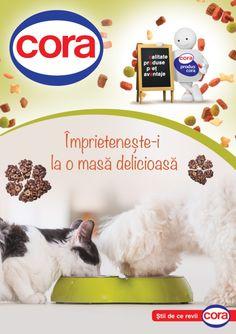 Catalog Cora Oferta Petshop 2016!Recomandari produse: Hrana pentru pisici meniuri in sos gourmand 4x100 g;Batoane pentru caini. Pet Shop, Catalog, Color, Pet Store, Brochures