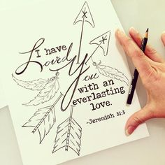"""I have loved you with an everlasting love""- Jeremiah 31:3 I want 2016 to be a year of chasing after His love... The greatest adventure you can ever take! Because he has never failed me his love always remains! If you order any of my scripture or bible journaling prints during the month of January... This coloring page will be your sweet thank you for supporting me and my great adventure. #illustratedfaith #journalingbible #biblejournaling #bible #scripture #scriptureart #godslove…"