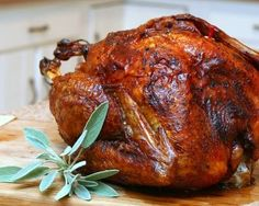 Roast Turkey, a simple, basic recipe for roasting a whole turkey. The turkey is 'dry brined' overnight to produce dark, crispy skin and moist, flavorful meat. #LowCarb. For Weight Watchers, #PP3. #KitchenParade