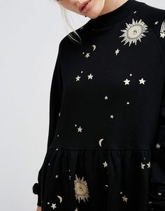Lazy Oaf | Lazy Oaf Smock Dress With Metallic Moon & Star Print