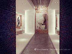 #hairdresser #arthairstyle #entrance #waitingroom #reception #brick #concretefloor #hairdresserdesign#interiordesign #architecture #visualization #oldbuildings #interiorclimate #moderndesign #3dstudiomax #modernstyle #3Dsculpting — w: Lubelskie, Poland