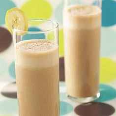 Banana Cocoa Smoothies Recipe  Ingredients  1 cup (8 ounces) fat-free vanilla yogurt  3/4 cup fat-free milk  1 medium ripe banana, frozen and cut into chunks  3 tablespoons sugar-free chocolate drink mix  1/4 teaspoon vanilla extract  Directions  In a blender, combine all ingredients. Cover and process until smooth. Pour into chilled glasses; serve immediately. Yield: 3 servings.