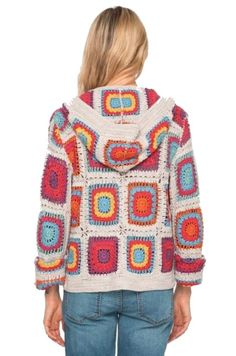 New Free of Charge Crochet cardigan multicolor Popular Johnny Was Yvonne Crochet Hooded Cardigan Multicolor Sweater – Tradesy Cardigan Au Crochet, Crochet Bolero, Pull Crochet, Crochet Coat, Crochet Jacket, Cardigan Pattern, Crochet Clothes, Diy Clothes, Hooded Cardigan