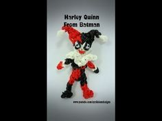 Rainbow Loom HARLEY QUINN (Batman). Designed and loomed by Kate Schultz of Izzalicious Designs. Click photo for YouTube tutorial. 05/20/14.