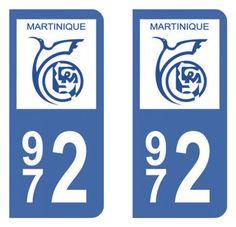 Autocollant plaque immatriculation 972 (Martinique)