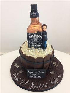 Jack Daniels bottle in bucket cake Birthday Cake For Papa, 19th Birthday Cakes, Birthday Cakes For Men, Birthday Ideas, Jack Daniels Cake, Fondant, Barrel Cake, Whiskey Cake, Dad Cake