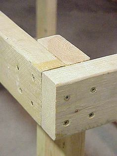 Fastener pattern in 2x4 frame of workbench. More