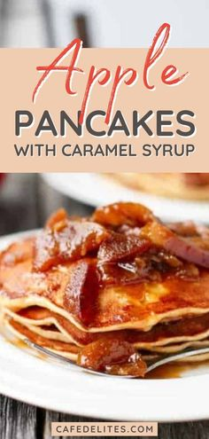 Caramel apple pancakes for breakfast will seem more like a dessert because of the homemade caramel syrup! You just need two apples - one for inside the pancakes, and one for the caramel perfection happening outside, on top, and all over these sinfully delicious pancakes! These pancakes are pure heaven on a plate!