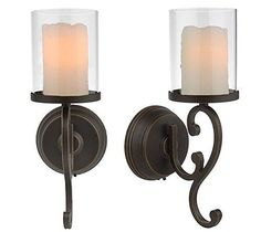 Battery Operated Wall Sconces with Flameless Wax Candles 2 Pack