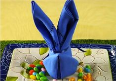 Easter Bunny Napkin Fold in Chic and Crafty, Easter, Party Bunny Napkin Fold, Napkin Folding, Easter Table Settings, Easter Table Decorations, Easter Brunch, Easter Party, Easter Food, Easter Ideas, Easter Crafts