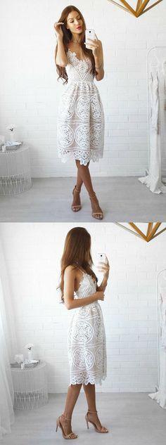 simple lace homecoming dress,spaghetti strap short prom dress,tea length dress for homecoming ,fashion dresses