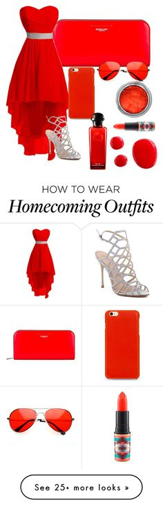 """""""Red {Formal}"""" by catyisamazing11 on Polyvore featuring Michael Kors, Schutz, MAC Cosmetics, Knomo and Hermès"""