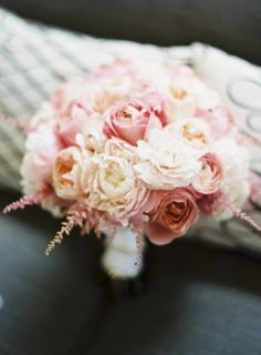 Pink Peony Bouquet created by DL Designs | http://www.elizabethannedesigns.com/blog/2012/06/28/pink-gray-white-outdoor-wedding/