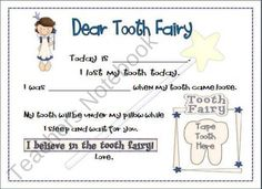 Dear Tooth Fairy product from Mrs-Pereas-Kinder-Eagles on TeachersNotebook.com