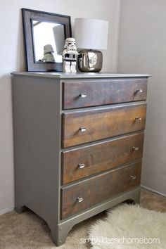 Two Toned Painted & Stained Dresser - Wet cement by behr #refurbishedfurniture