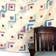 Amazing how washed out these get. Depression Quilt / Log Cabin / Shabby Chic by SPUNKvtg on Etsy, $32.00