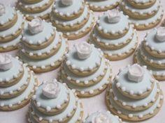 Wedding Cake Decorated Sugar Cookies  Mini Wedding by MartaIngros
