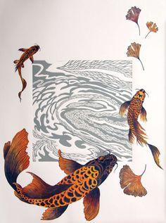 Koi Fine Art: printmaking and mixed-media. Koi Art, Fish Art, Illustrations, Illustration Art, Koi Painting, A Level Art, Linocut Prints, Art Graphique, Japanese Art