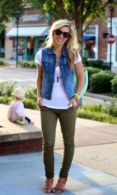 Look Colete Jeans + Skinny Verde