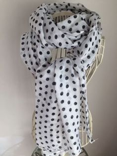 Black and white dotted spotted scarf. April 17 £5.49 + £1