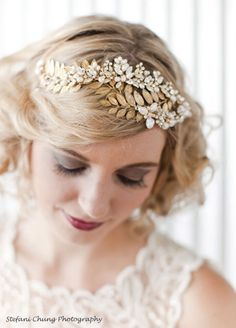 Simple elegant a headpiece gold leaves symbolising the leaves from the olive trees of Greece
