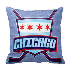 Chicago Hockey Logo Name & Number Pillow. Hockey throw pillow with easy to customize name and number print on one side. Available with cotton or polyester covers. Priced from $33.95. To see this design on the full range of products, please visit my store: www.zazzle.com/gamefacegear*/ #IceHockey