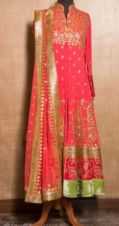 Monsoon - Neon pink & Green Dress with Gota pai work and dupatta