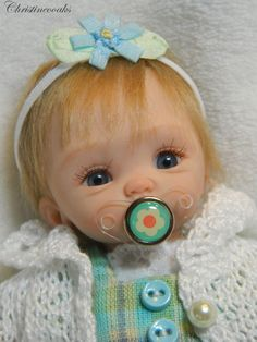 *POLYMER CLAY ~ Baby Samantha, Ooak Hand Sculpted Mini Polymer Clay Baby Girl ART Doll