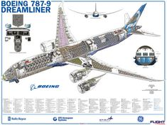 When launch customers Air New Zealand, United Airlines and All Nippon Airways introduce their first in the coming months, it will mark a watershed for Boeing's Dreamliner. Boeing Aircraft, Boeing 777, Boeing Planes, Rolls Royce, Boeing 787 9 Dreamliner, Commercial Aircraft, Aircraft Design, Vintage Design, Cutaway