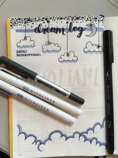 Dream log bullet journal page