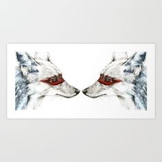 Twin Coyotes Art Print by Susana Miranda Ilustración. Worldwide shipping available at Society6.com. Just one of millions of high quality products available.
