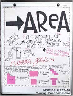 Differentiated Area Anchor Chart (plus freebies!) - Young Teacher Love by Kristine Nannini Math Charts, Math Anchor Charts, Math Resources, Math Activities, Math Games, Elementary Math, Upper Elementary, Maths Area, Middle School Classroom