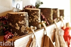 How easy are these rustic stocking holders?  Cut the wood, add a dowel, and they surely are heavy enough to hold heavy stockings!  I'm going to remember this for next Christmas