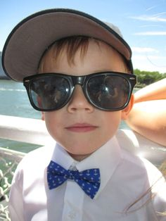Theo looking #dapper in our Anchorman boys' bow tie! Lazyjackpress.com #kids #boys #bowties #kidswear #fashion #style #anchors #preppy #cheers