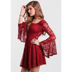 Be A Doll Lace Dress In Burgundy ($35) ❤ liked on Polyvore featuring dresses, red dress, red, short dresses, short red dress, red lace cocktail dress, red lace dress en sexy short dresses